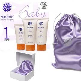 CAJA REGALO BEBE NAOBAY (Crema facial + Gel de baño y champú + loción corporal hidratante)