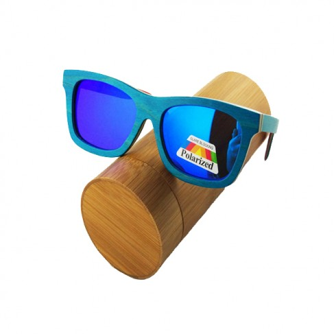 Gafas de madera skateboard azul