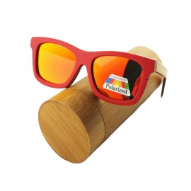 Gafas de madera skateboard rojas