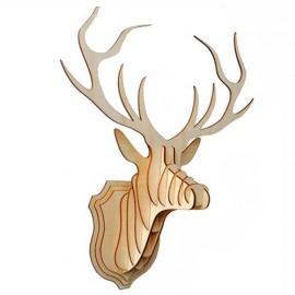 Cabeza ciervo madera